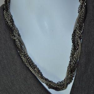 Jewelry - Vintage Multi-chain Black Silver Tone Necklace